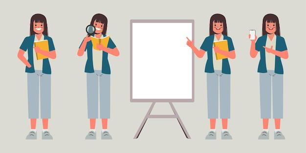 Set van jonge vrouw beurs poseren met onderwijs