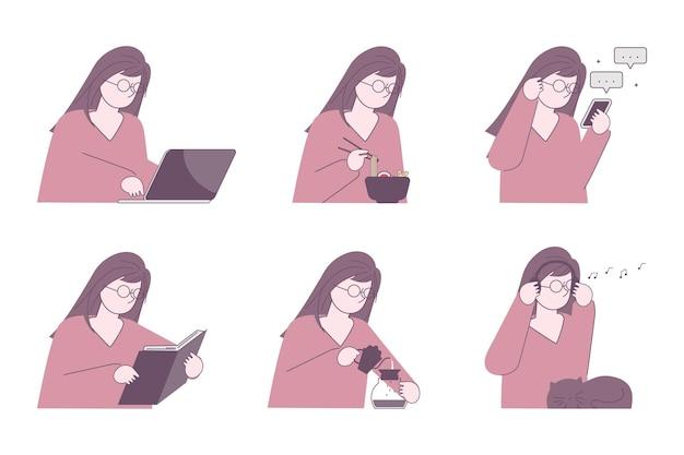 Set van jonge vrouw in dagelijkse routine levensstijl