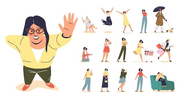 Set van jonge vrouw in hipster-bril en trendy kleding in verschillende levensstijlsituaties en poses: boodschappentassen dragen, wandelen met de hond, vrolijke sprong, medisch masker dragen. platte vectorillustratie