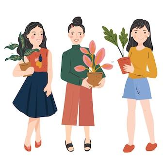 Set van jonge vrouw in trendy kleding met een potplanten. bloemist dames. moderne mode-look. hand getekende trendy illustratie.