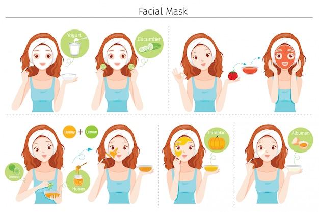 Set van jonge vrouw maskeert haar gezicht met natuurlijke gezichtsmasker, yoghurt en fruit