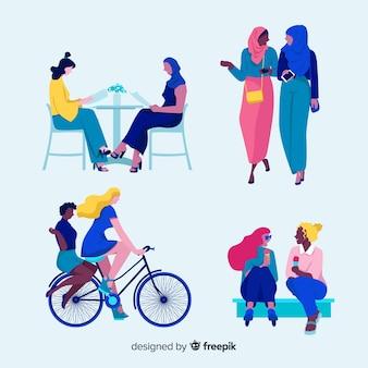Set van jonge vrouw tijd samen doorbrengen