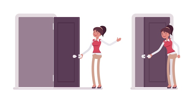 Set van jonge vrouwelijke beambte openen, de deur sluiten