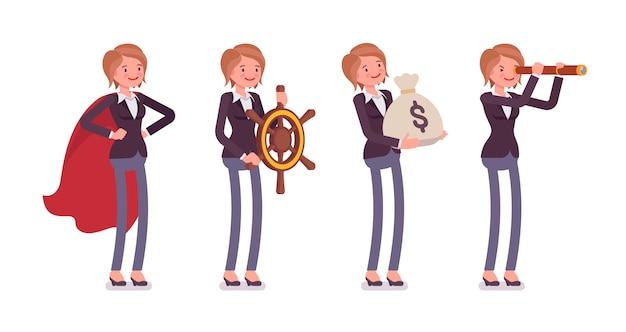 Set van jonge vrouwelijke knappe manager in verschillende zakelijke afbeeldingen