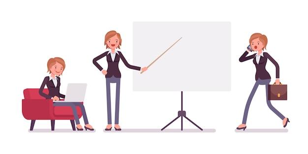 Set van jonge vrouwelijke knappe manager zitten, vapen, wijzen, wandelen