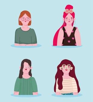 Set van jonge vrouwen