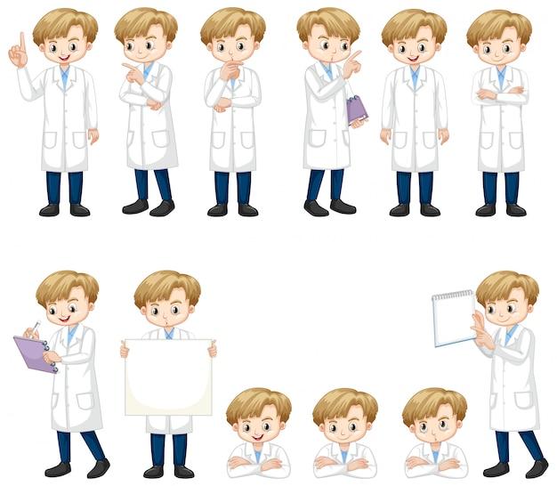 Set van jongen in wetenschapstoga die veel acties doet