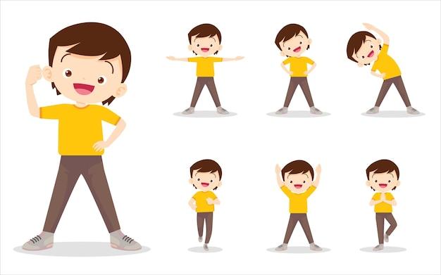 Set van jongen oefenen verschillende acties verschillende acties uit om het lichaam gezond te bewegen