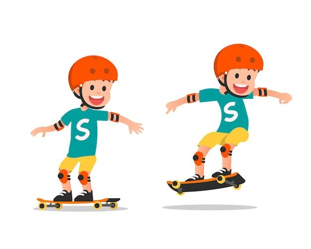 Set van jongen op een skateboard op wit wordt geïsoleerd