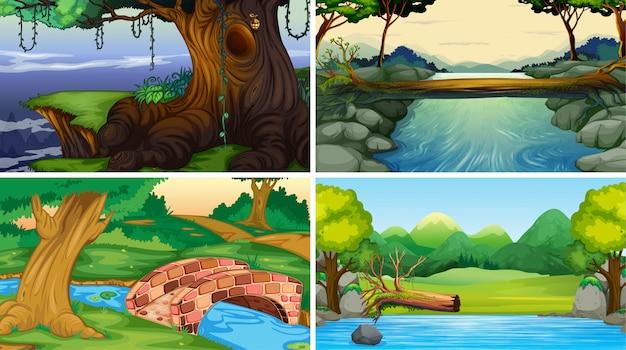 Set van jungle scènes achtergrond