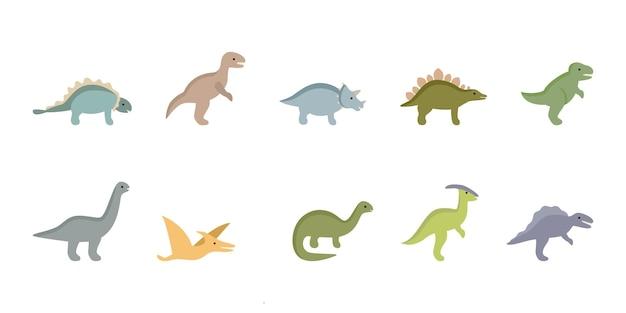 Set van jurassic oude dinosaurussen prehistorische dino dieren verzameling van draken voor kinderen