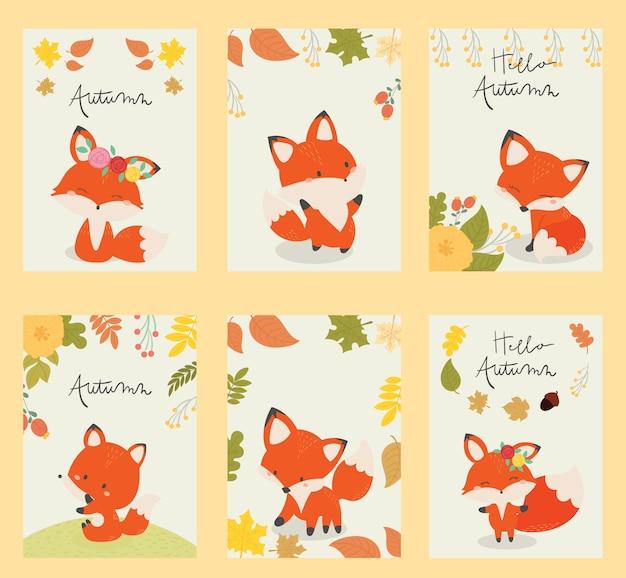 Set van kaart herfst met schattige fox.