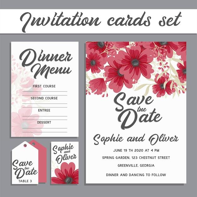 Set van kaart met bloem roos, bladeren. bruiloft sieraad concept.
