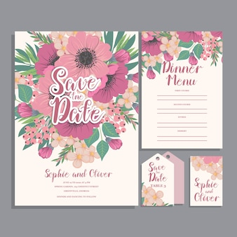 Set van kaart met bloem roos
