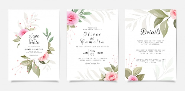 Set van kaart met bloemen. elegante uitnodigingssjabloon ingesteld met florale frame