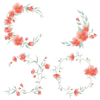 Set van kaart met bloemen voor bruiloft uitnodigingen en verjaardagskaarten