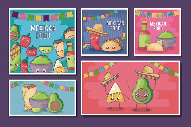 Set van kaart van mexicaans eten kawaii