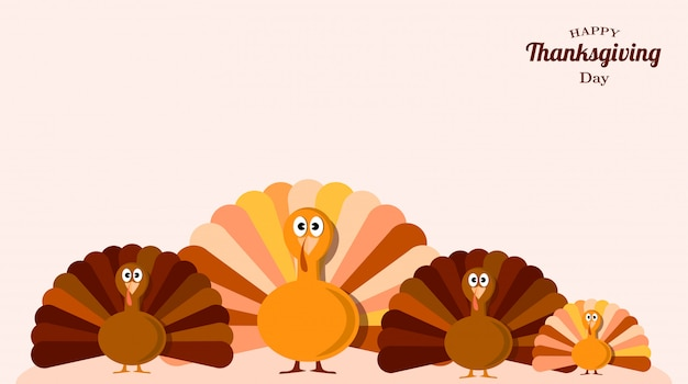 Set van kalkoenen thanksgiving