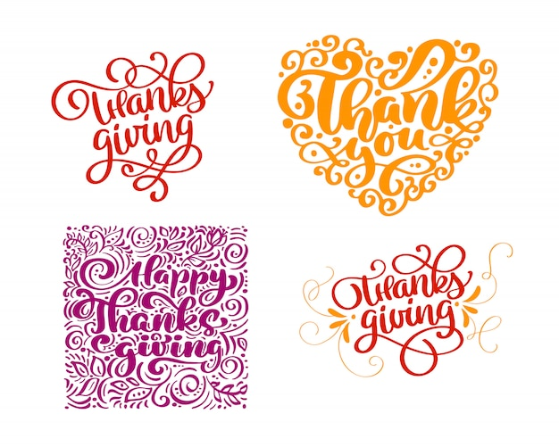 Set van kalligrafietekst dank u voor happy thanksgiving day