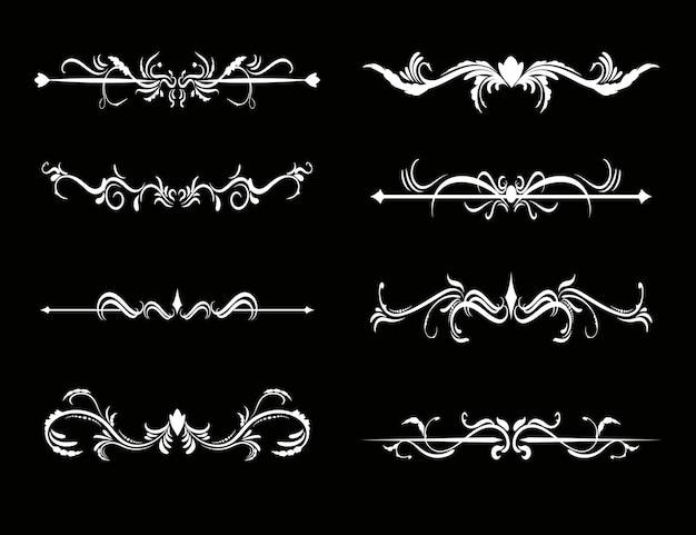 Set van kalligrafische decoratieve elementen voor ontwerp.