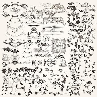 Set van kalligrafische elementen