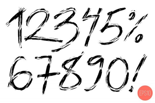 Set van kalligrafische handgeschreven nummers.