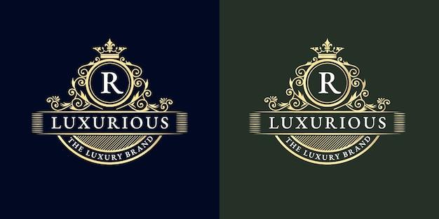 Set van kalligrafische vrouwelijke bloemen logo hand getrokken heraldische monogram antieke stijl, luxe design