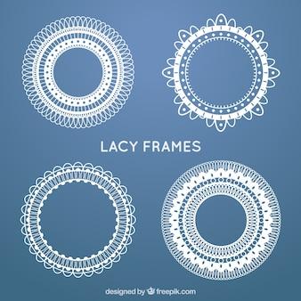 Set van kant ronde frames in vintage stijl