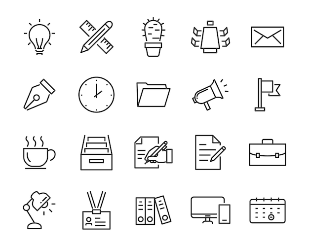 Set van kantoor iconen, zoals vergaderruimte, document, koffie, papier, pen, laptop
