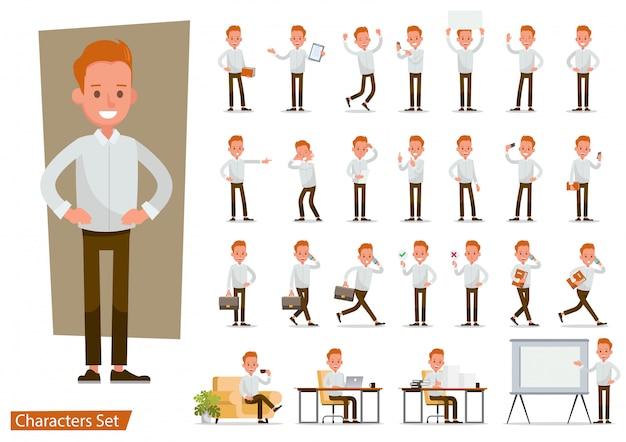 Set van kantoor man werknemer karakter.