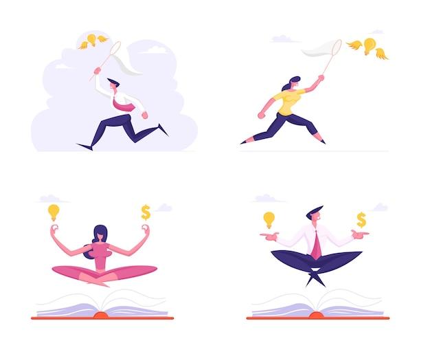 Set van kantoorpersoneel mediteren met dollarteken en gloeilamp