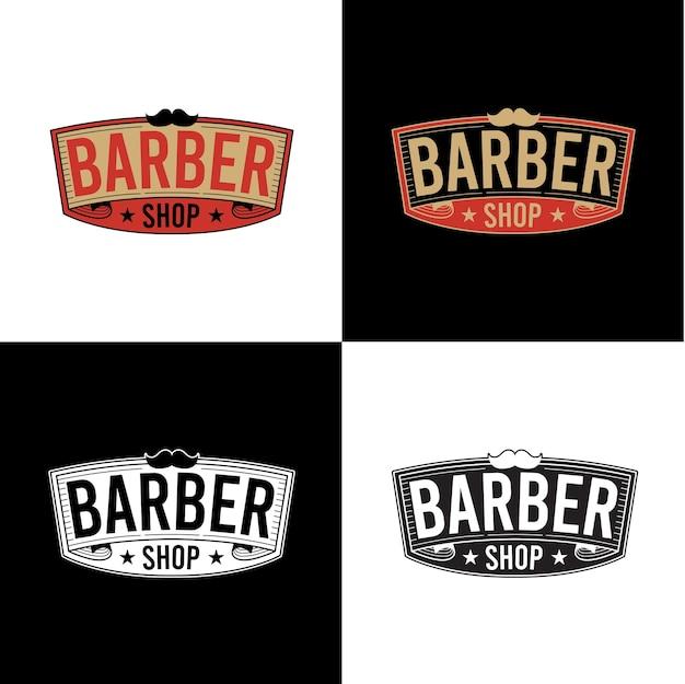 Set van kapper winkel logo ontwerp