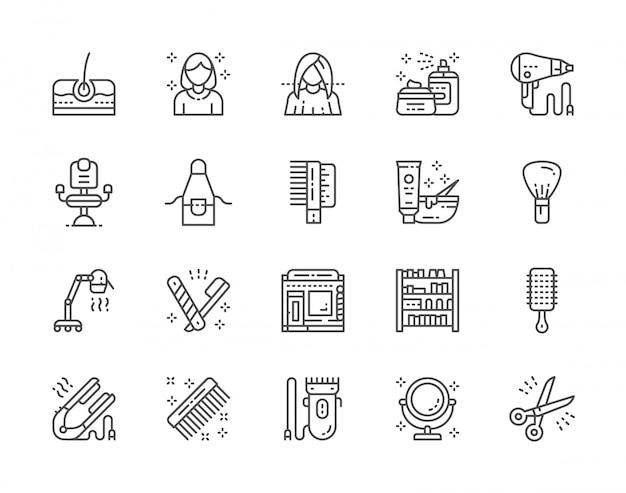 Set van kapperszaak en schoonheidssalon lijn iconen. pack van 48x48 pixelpictogrammen