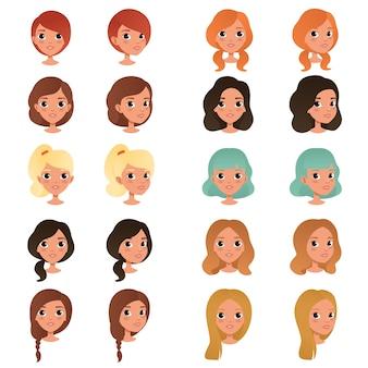 Set van kapsels van verschillende meisjes en kleuren zwart, blauw, blond, rood, bruin