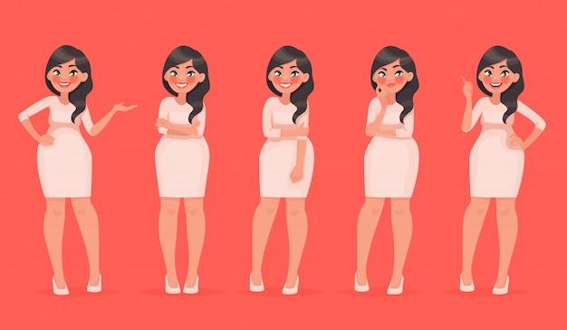 Set van karakter een mooie vrouw in verschillende poses. mooi meisje voor je modeproject
