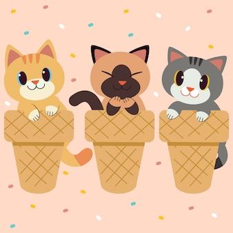 Set van karakter van schattige kat zitten in het ijsje ijs op roze