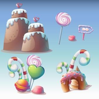 Set van karamel vectorillustratie. zoete objecten voor games