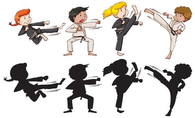 Set van karate kinderen