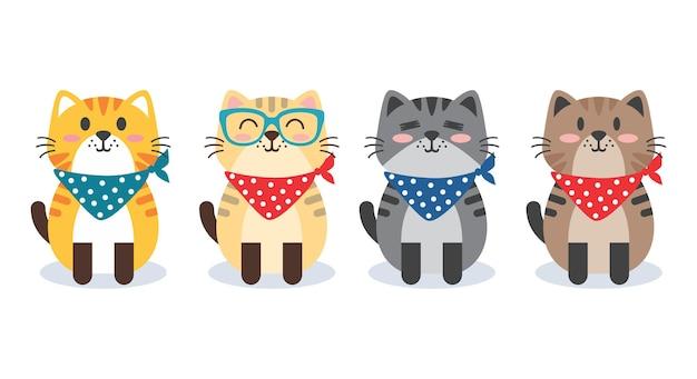 Set van kat met bandkarakter cartoon