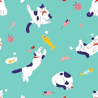 Set van kattenpatroon