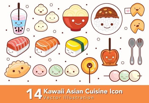 Set van kawaii aziatische keuken