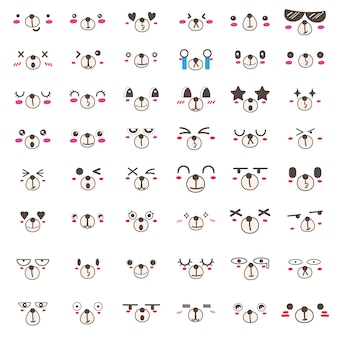 Set van kawaii beer gezicht pictogram ontwerp.