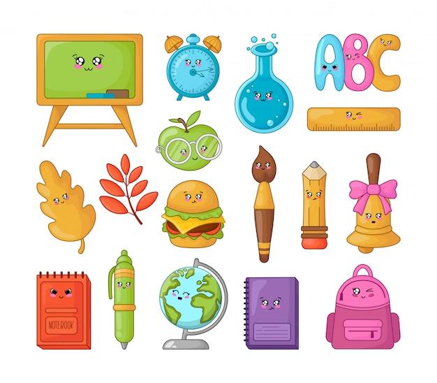 Set van kawaii cartoon schoolbenodigdheden, terug naar school
