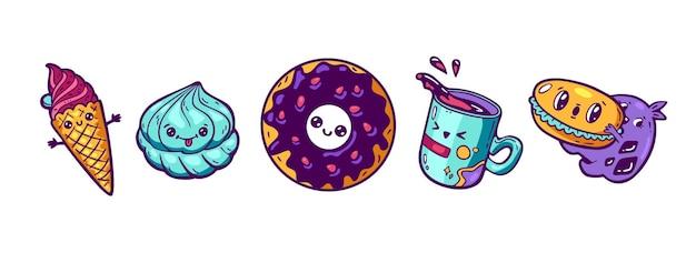 Set van kawaii cartoon stijl doodle sweety karakters ontwerp illustratie
