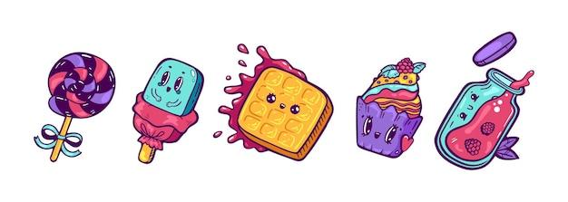 Set van kawaii cartoon stijl tekens ijs ontwerp illustratie