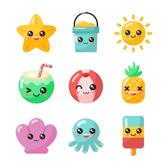 Set van kawaii cartoon zomer character collection geïsoleerd