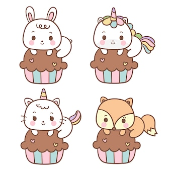 Set van kawaii cupcake dieren cartoon