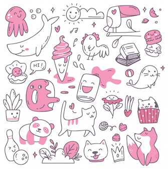 Set van kawaii doodles