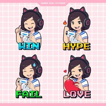 Set van kawaii gamer meisje expressie sticker