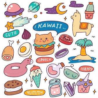 Set van kawaii iconen